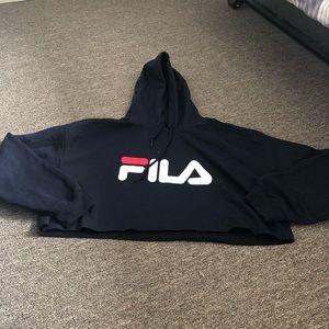 Fila Cropped Logo Hoodie Sweatshirt XL